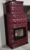 Hein BARACCA OU červená šarlátová keramické kachle s kvalitnou krbovou vložkou krb-pec
