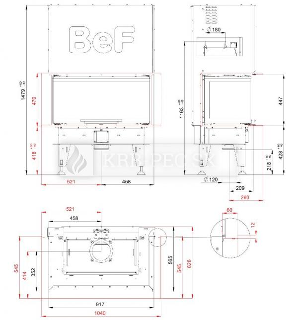 BeF Therm V 8 C dizajnová, luxusná krbová vložka s výsuvnými dvierkami krb-pec