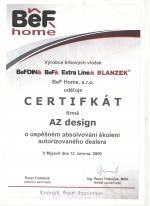 BeF Home certifikát - Autorizovaný dealer - AZ DESIGN - Tibor Chudoba krb-pec