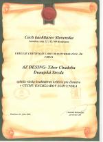 Cech kachliarov Slovenska - Certifikát č. 009/08 AZ DESIGN - Tibor Chudoba krb-pec