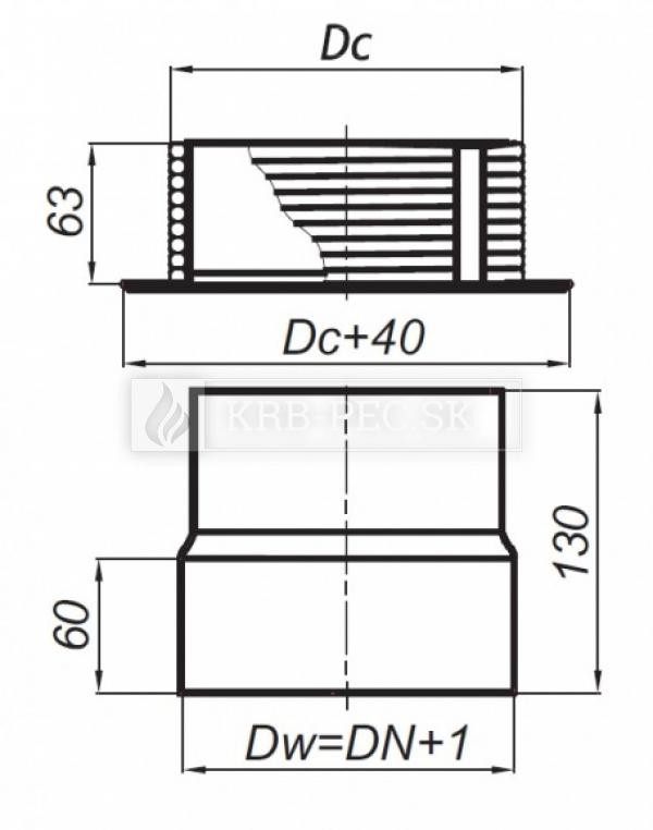 Redukcia s tesniacim povrazcom DN150/DC200