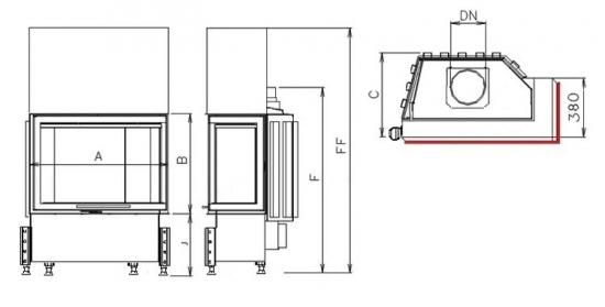 Kobok Kazeta R90 S/380 (720, 780) - nákres krb-pec