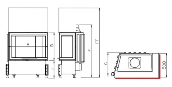 Kobok Kazeta R90 S/500 (720, 780) - nákres krb-pec