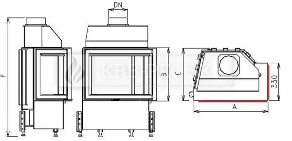 Kobok EKO R90-S/330, LD 670/510 teplovzdušná krbová vložka s rohovým presklením krb-pec