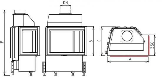 Kobok EKO R90-S/330, LD 670/510 teplovzdušná krbová vložka s rohovým presklením - nákres krb-pec