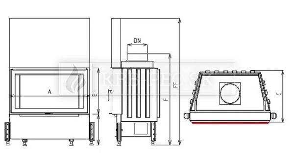 Kobok Kazeta L VD 670/450 510 570 rovná krbová vložka s výsuvnými dvierkami krb-pec