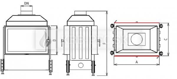 Kobok Kazeta O LD 600/450 510 570 krbová vložka priehľadná krb-pec