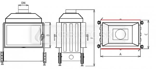 Kobok Kazeta O LD 780/450 510 570 krbová vložka priehľadná krb-pec